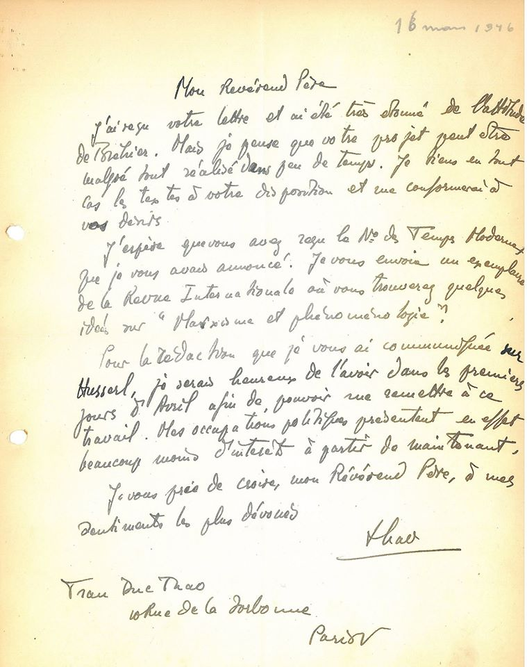Letter from Tran Duc Thao to Pater Van Breda (May 1946).