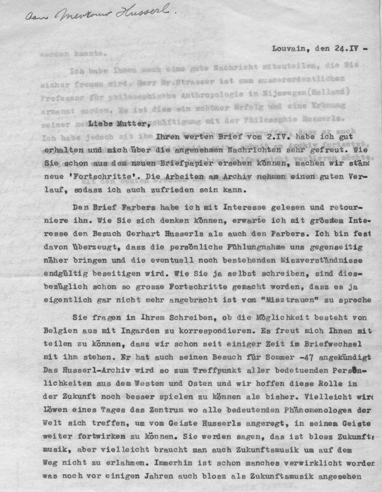 van Breda Letter to Malvine Husserl, Malvine Husserl, April 1947