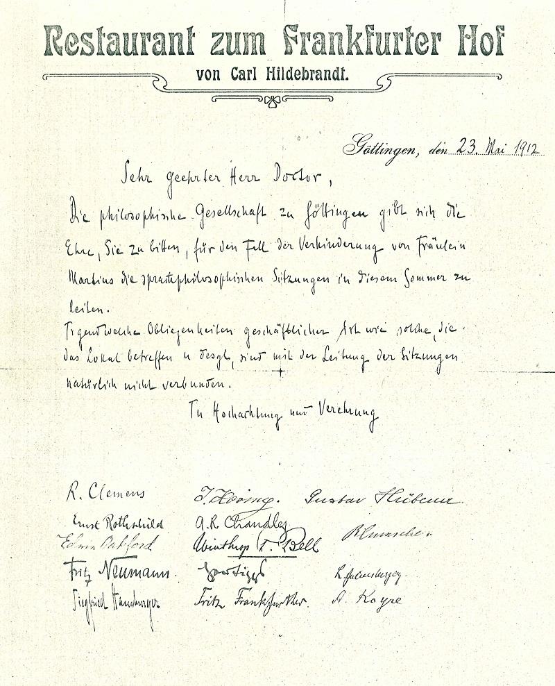 Göttingen Frankfurter Hof Philosophische Gesellschaft 1912 (red.)