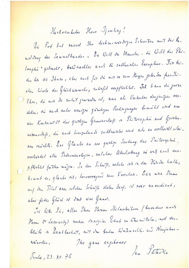 Patocka's letter to S. jsseling (Dec. 1976)